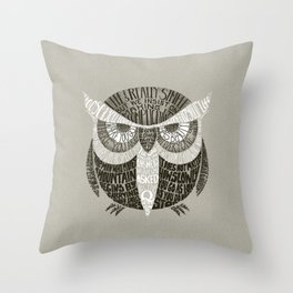 Wise Old Owl Says Throw Pillow