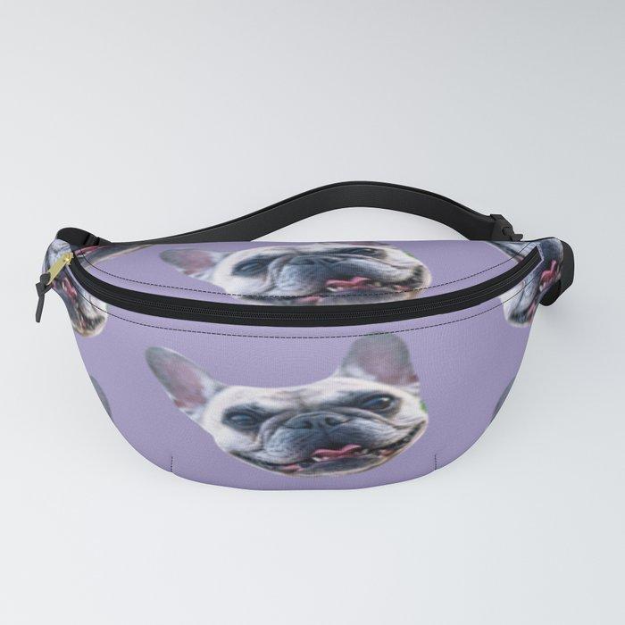 light purple dog pattern cute puppy french bulldog Fanny Pack