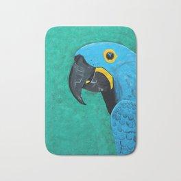 Hyacinth Macaw Gouache Painting Bath Mat