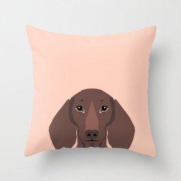 Remy - Daschund hipster dog, doxie, weiner dog, wiener dog,  Throw Pillow