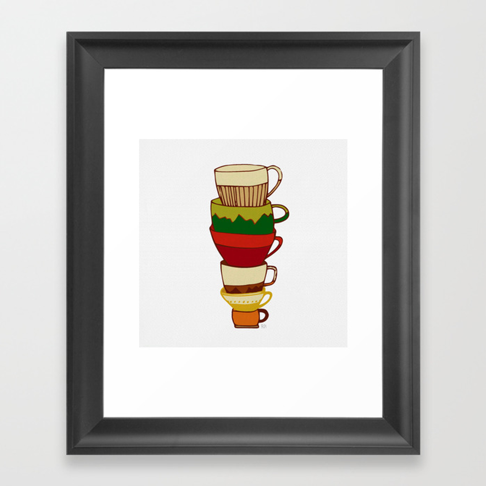 Red Green Yellow Tea Cups Framed Art Print by Rebeccahowe FRM8952305