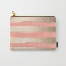 Painted Stripes Tahitian Gold on Coral Pink Carry-All Pouch