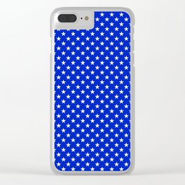 White Stars on Cobalt Blue Clear iPhone Case