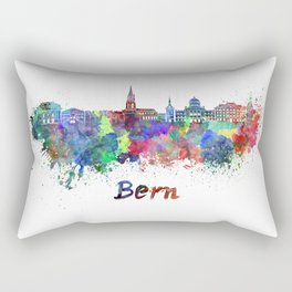 Bern skyline in watercolor Rectangular Pillow