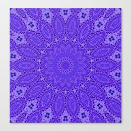 Lovely Healing Mandala  in Brilliant Colors: Purple and Blue Canvas Print