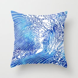 Blue Wave II Throw Pillow