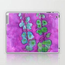 Hollyhock Foxglove Watercolor on Fuchsia Magenta Laptop & iPad Skin