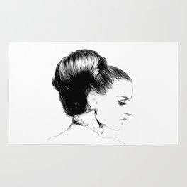 Woman Portrait Fashion Minimal Drawing Rug