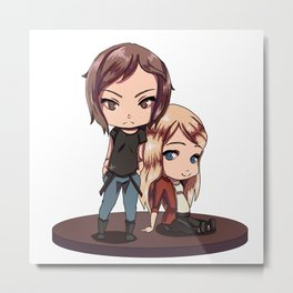 Chloe and Rachel - Chibi Metal Print
