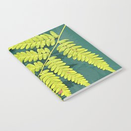 From the forest - lime green on teal Notebook