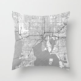 Tampa Map Line Throw Pillow