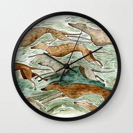Running Greyhounds Wall Clock