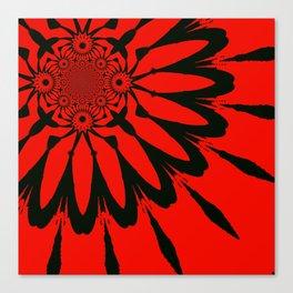The Modern Flower Red & Black Canvas Print