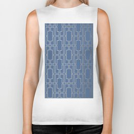Simply Mid-Century in White Gold Sands and Aegean Blue Biker Tank