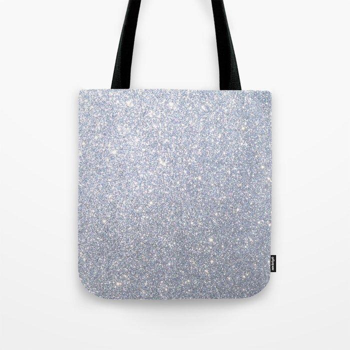 Silver Metallic Sparkly Glitter Tote Bag