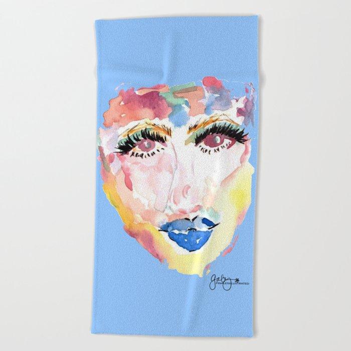 Watercolor Girl Beach Towel