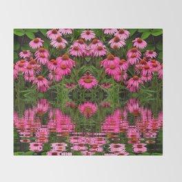 FUCHSIA-PINK ECHINACEA WATER GARDEN Throw Blanket
