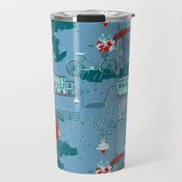 Rainy Day Umbrella and Irish Bridge Blue Vintage Romantic Art Travel Mug