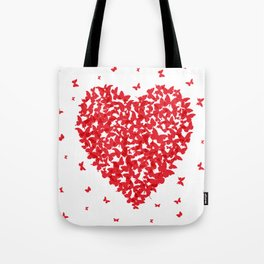 Heart - summer card design, red butterfly on white background Tote Bag