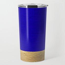 Color Blocked Gold & Cerulean Travel Mug