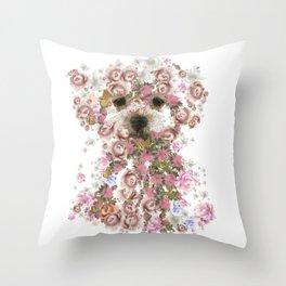 Vintage doggy Bichon frise.DISCOVER Throw Pillow