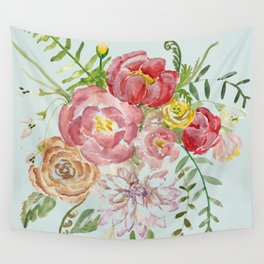 Bouquet of Spring Flowers Light Aqua Wall Tapestry