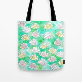 Water Lilies in a pond Tote Bag
