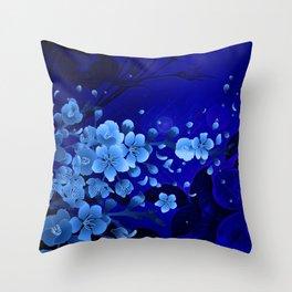 Cherry blossom, blue colors Throw Pillow