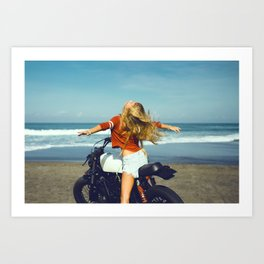 Young girl on motorcycle Art Print