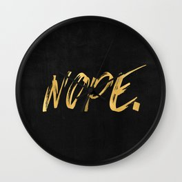 NOPE Copper Gold on Black Wall Clock