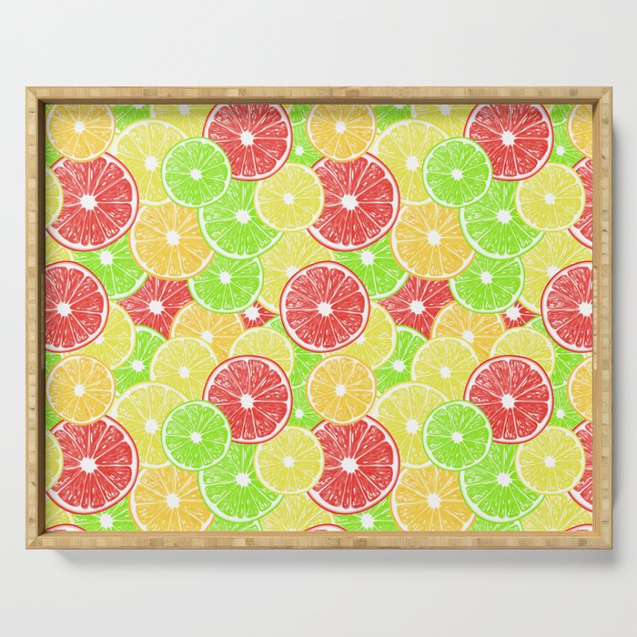 Lemon, orange, grapefruit and lime slices pattern design Serving Tray
