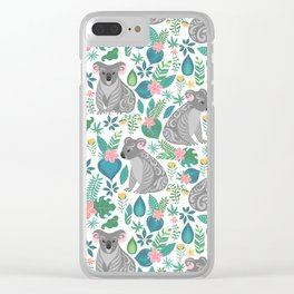 Cute gray koalas with ornaments, tropical flowers and leaves. Seamless tropical pattern. Clear iPhone Case