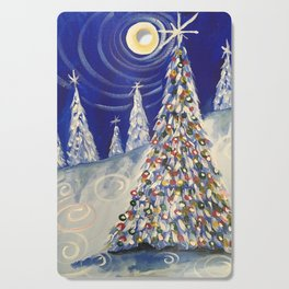 Christmas Tree Blue Cutting Board