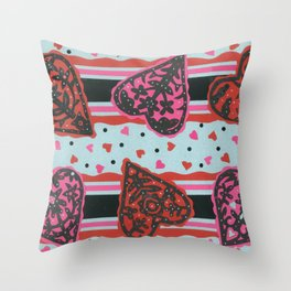 Floral Heart Papercut Stripe by  Nettwok2Design - Nettie Heron-Middleton Throw Pillow