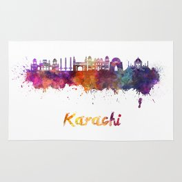 Karachi skyline in watercolor Rug