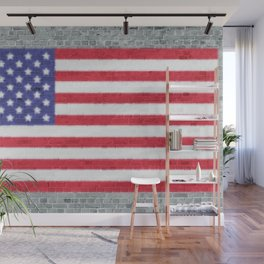USA Flag Whitewashed Loft Apartment Brick Wall Wall Mural