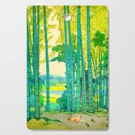Yoshida Hiroshi Bamboo Grove Vintage Japanese Woodblock Print Bright Green Bamboo Landscape Forest Cutting Board