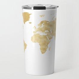 Opulent Gold World Map Travel Mug