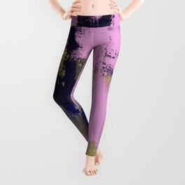 Wild Lilac - Abstract, textured, lilac, purple, blue and yellow oil painted artwork Leggings