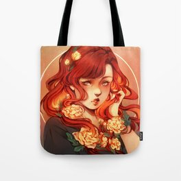 Red hair, White flowers Tote Bag