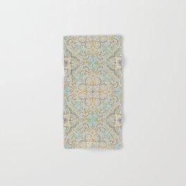 Gypsy Floral in Soft Neutrals, Grey & Yellow on Sage Hand & Bath Towel