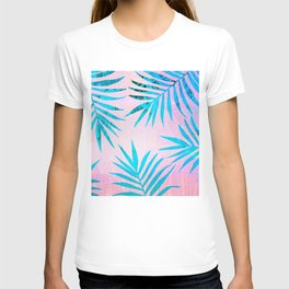 Refreshing Geometric Palm Tree Leaves Tropical Chill Design T-shirt