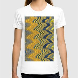 Blue and yellow abstract T-shirt