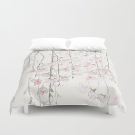 pink cherry blossom Duvet Cover