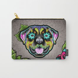 Rottweiler - Day of the Dead Sugar Skull Dog Carry-All Pouch