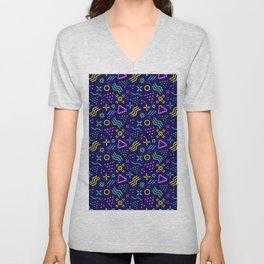 Retro 80s Shapes Pattern Unisex V-Neck