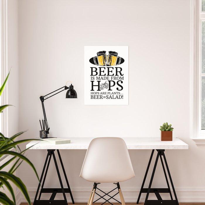 Beer salad vegetables hop malt healthy joke gift Poster