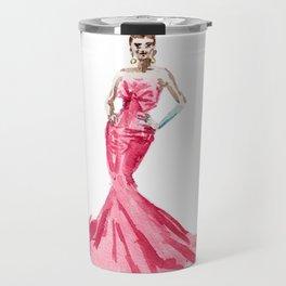 Sabrina / Hepburn Fuschia Pink Red | Fashion Gown Dress Travel Mug