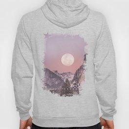 Pastel Full Moon Over Yosemite Park Hoody