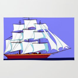 A Clipper Ship Full Sail in Still Waters Rug